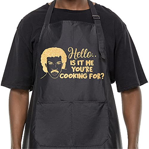 Funny Kitchen Apron for Men Him, Hello, is It Me You're Cooking for Apron Waterproof, Adjustable Cooking Apron Gift for Dad Papa Husband, Perfect for Birthday Father's Day Christmas, Black and Gold