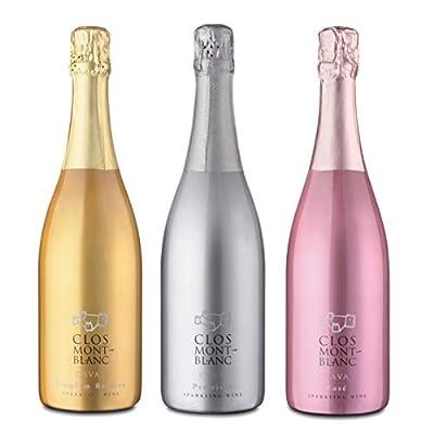CLOS MONTBLANC Sparkling Cava Brut Bundle - Premium, Nature Reserva & Rosé 75cl, 3 Bottles