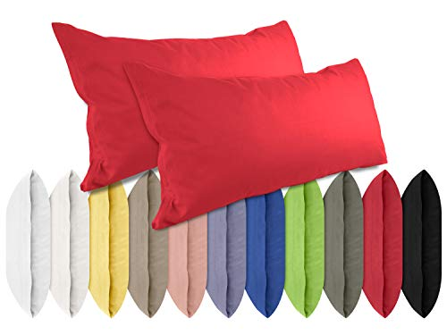 npluseins Renforcé-Kissenbezüge im Doppelpack - 100{52e16272e71d1c449d9eb8e755318d095ad2b446046e69d3ed0cba97b2d3f360} Baumwolle – schlicht und edel im Design, in 11 Uni-Farben, 40 x 80 cm, rot