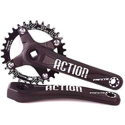 Juego de bielas de plato de bicicleta de montaña, AL7075 Juego de brazos de biela de MTB, pernos de plato estrechos y anchos CNC redondos/ovalados 32-42T, ajuste 7-11S KMC Shimano, plato de bicicle