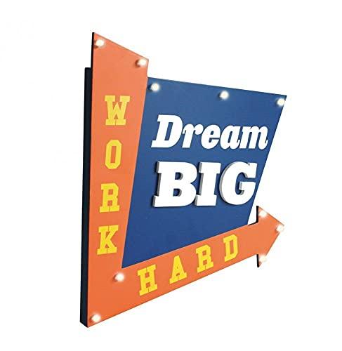 THE HOME DECO FACTORY HD1531 Déco Lumineuse Dream Big, MDF, Bleu, 29 x 3,5 x 34,4 cm