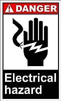 素晴らしいティンサインアルミニウム、電気危険危険2989レトロメタルスズポスターガレージオフィスクラブバー壁アートカフェホーム絵画装飾に適して