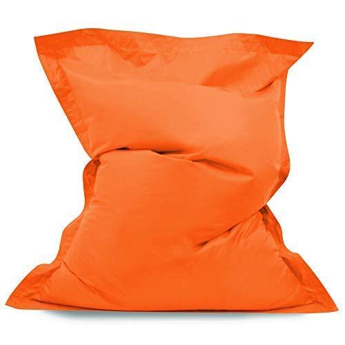 Pouf Chaise longue à 4 positions de s'asseoir de Hi-BagZ® - Coussin pouf GEANT de sol d'extérieur- Pouf imperméable à 100% (Orange)