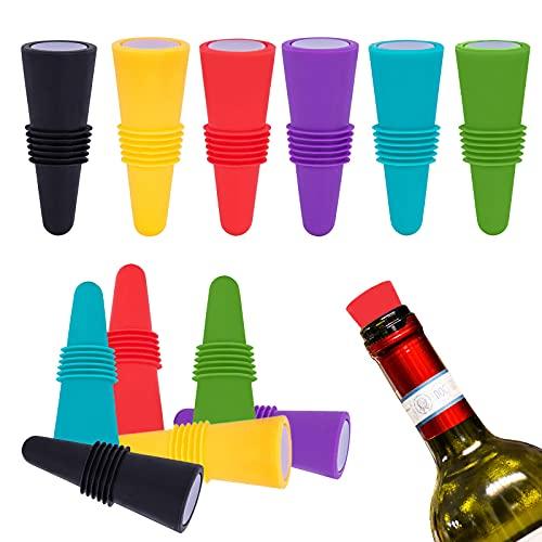 ZOCONE Silicone Tappi per Bottiglie di Vino, 12 PCS Tappo per Vino in Silicone, Tappo per Bottiglia di Vino con Fondo in Acciaio Inossidabile, Riutilizzabili, per Conservare la Birra Champagne (B)