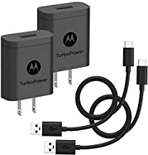 [2-Pack] Motorola TurboPower 18 QC3.0 Chargers with long 6.6 foot USB-A to USB-C cables for Moto Z, Z2, Z3, X4, Motorola One, One Power, G7, G7 Play, G7 Plus,G6, G6 Plus [NOT for G6 Play] (Retail Box)
