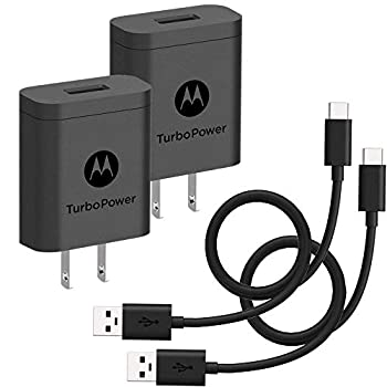 [2-Pack] Motorola TurboPower 18 QC3.0 Chargers with long 6.6 foot USB-A to USB-C cables for Moto Z Z2 Z3 X4 Motorola One One Power G7 G7 Play G7 Plus,G6 G6 Plus [NOT for G6 Play]  Retail Box