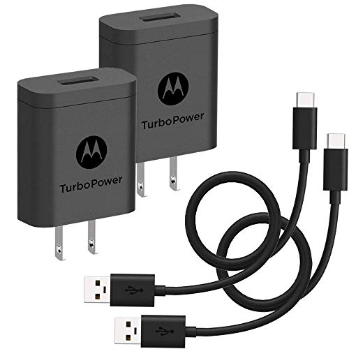 2Pack Motorola TurboPower 18 QC30 Chargers with long 66 foot USBA to USBC cables for Moto Z Z2 Z3 X4 Motorola One One Power G7 G7 Play G7 PlusG6 G6 Plus NOT for G6 Play Retail Box