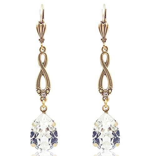 Jugendstil Ohrringe mit Kristalle von Swarovski Gold Damen Ohrhänger NOBEL SCHMUCK