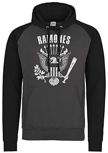 LaMAGLIERIA Sudadera Baseball Unisex Ramones Cod Rs01 - Sudadera con Capucha Punk Rock Band, S, Charcoal/Jet Black