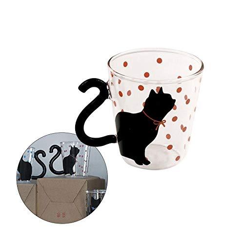 YUIDAJ Simpatico Gatto Gattino Tazza di Vetro Tazza Tazza di tè Tazza di caffè al Latte Puntini Decorazione Home Office Tazza con Manico Regalo Meraviglioso-Pink_Tie_Polka_Dots