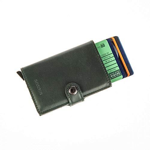 Secrid–Porta carte di credito rigido, in pelle e alluminio, verde