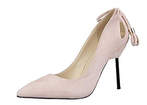 Frommk sandals Zapatos de tacón fino para mujer con punta de tacón fino y punta atados con lazo, sin cordones en zapatos de tacón alto, (Ig Rosa), 35 EU
