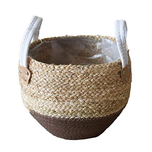 Cestas de Flores de Paja Pot Seagrasss Picnic Tiesto Rattan Asas del Vientre Cesta de ultramarinos con la manija para la decoración de Almacenamiento