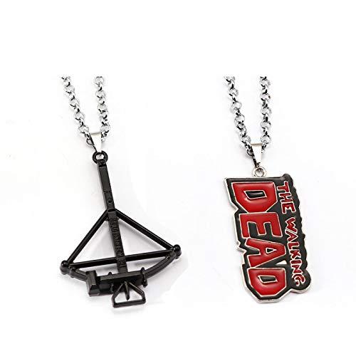 YUNMENG 2Pcs The Walking Dead Halskette Daryl Armbrust Anhänger Mode Link Kette Halsketten Freundschaft Geschenk Schmuck
