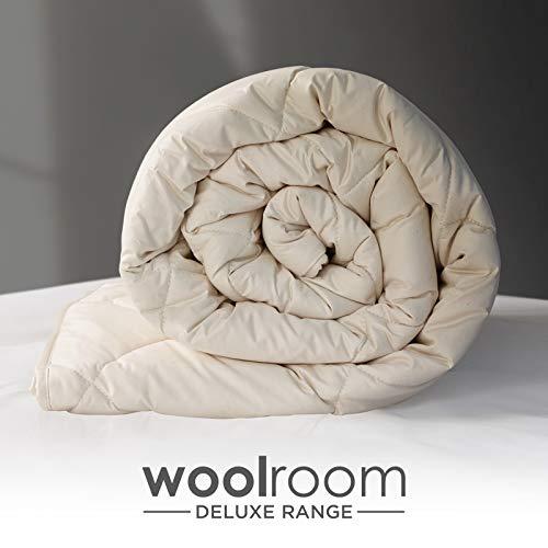 WOOLROOM SINGLE W137cm x L200cm DELUXE Natural Organic British Wool Duvet- Warm (11-14 tog) – Machine Washable - Regulates Temperature/Moisture – Hypoallergenic