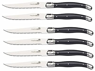MasterClass Stainless Steel Steak Knives (Set of 6), Silver, 1.2 x 1.6 x 23 cm