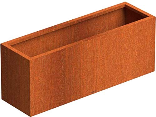 SENZZO Jardinera de acero Corten 100x30x40 cm Maceta Cortensteel
