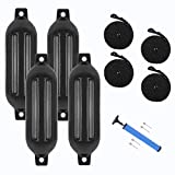 VINGLI 4-Pack Ribbed Boat Fender, 6.5 x 23 inch, with Ropes & Inflator, Black, for 20-30 f...