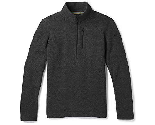 Smartwool Hudson Trail Fleece Sweater - Men's Lightweight Merino Wool Half Zip Performance Sweater Dark Charcoal Large