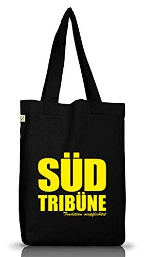 Shirtstreet24, SÜDTRIBÜNE Ultras Dortmund Fußball Jutebeutel Stoff Tasche Earth Positive, Größe: onesize,Black
