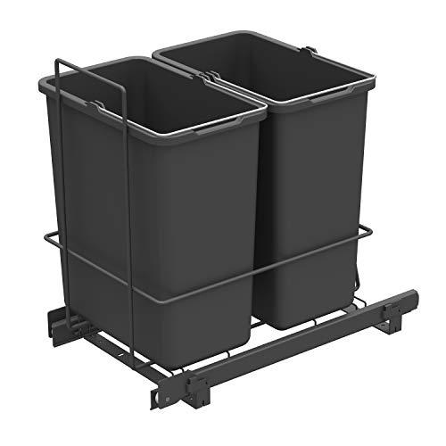 LM 62/2 Einbau Mülleimer ausziehbar mit 2x10L Abfalleimer Korbauszug anthrazit 25,8x41,4x39,5 cm - Duo Mülltrennsystem für die Küche Unterschrank