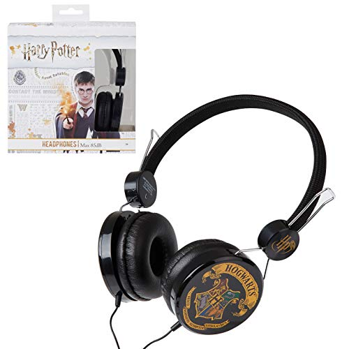 Harry Potter Auriculares Niños, Auriculares Diadema Diseño Hogwarts, Cascos Musica Niños, Volumen Limitado 85dB, Regalos Harry Potter para Niños y Niñas