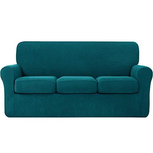Hokway - Fundas de cojín de elastano separadas para sofás, 4 piezas, fundas de sofá superelásticas de 3 plazas, fundas suaves de jacquard para muebles (grande, color azulado)