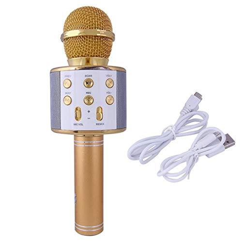 JINGBU Micrófono inalámbrico Bluetooth Karaoke Profesional Altavoz de mano Microfono Reproductor de Micrófono Cantante Micrófono Oro