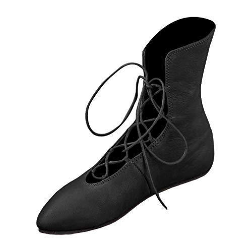 yying Damen Spitz Stiefel - Damen Sexy Kreuzgurt Kurzschaft Stiefel Europäisch Mittelalter Stiefeletten Maskerade Cosplay Stiefel Schuh