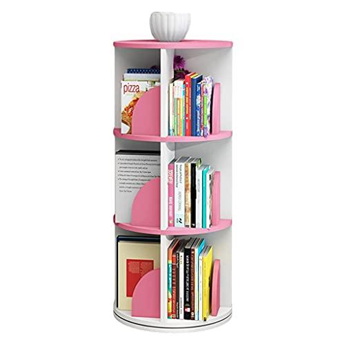 Estantería para libros de esquina alta en MDF Ambiental, moderna, 360 grados, piso, giratoria, para expositor de suelo, para estudio, salón, oficina en casa (color: blanco, tamaño: 3)
