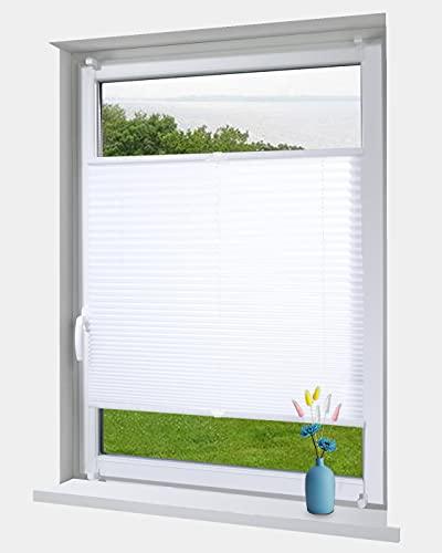 OBdeco Plissee Rollo Klemmfix ohner Bohren lichtdurchlässig Crushed Optik Faltrollo für Fenster Easyfix Weiß...