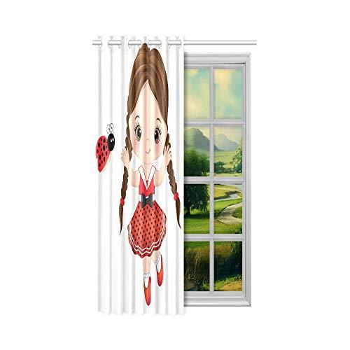 Günstige Verdunkelungsvorhänge Nettes Cartoon-Mädchen mit einem Marienkäfer Dark Out Vorhänge für Schlafzimmer 52x63 Zoll (132x160cm) 1 Panel Blackout Tülle Vorhang für Schlafzimmer Wohnzimmer