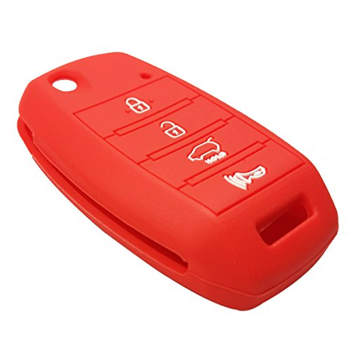 Coolbestda Rubber 4buttons Flip Key Fob Cover Case Keyless Entry Jacket Protector Holder for Kia Sorento Sportage Rio Soul Forte Optima Carens Red ?Not Fit Smart Key Fob?