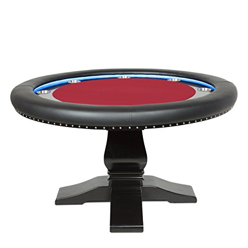 BBO Poker Ginza LED Poker Table for 8 Players with Red Felt Playing Surface, 55-Inch Round