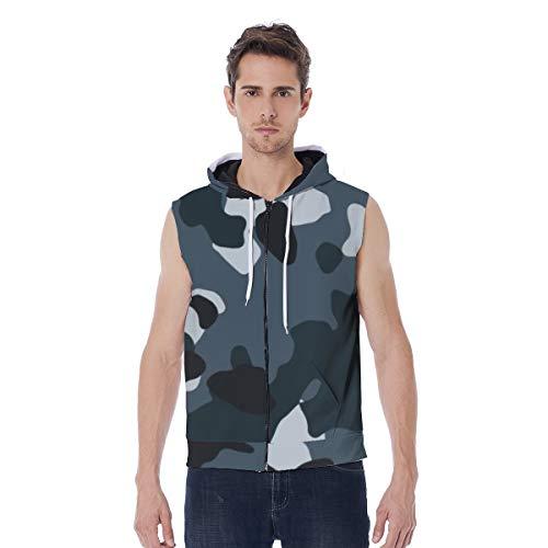 T-ara tendencia líder Sudadera con capucha for hombres Camo de color gris oscuro con cremallera ancha de manga larga, chaqueta de impresión todo, dimensionamiento muti Super comodo