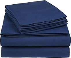 AmazonBasics 225TCPPSSNK 225 Thread Count Essential Cotton Blend Bed Sheet Set, Cotton, King, Navy, W 3.45 x H 8.9 x L...