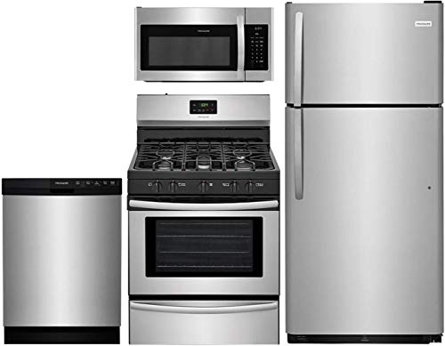 """Frigidaire 4 Pcs Stainless Steel Kitchen Package with FFTR1821TS 30"""" Top Freezer Fridge, FFGF3052TS 30"""" Gas Range, FFBD2412SS 24"""" Full Console Dishwasher and FFMV1645TS 30"""" Over-the-Range Microwave"""