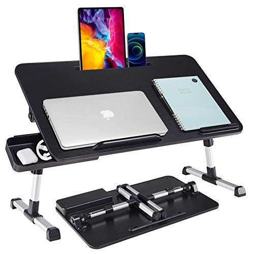 Lap Desk for Laptop,BUILDEC Adjustable Laptop Stand for Desk with Storage Drawer,Foldable Legs Standing Lap Table for Reading, Eating, Working, Writing, Gaming and Drawing in Bed Sofa Couch Floor