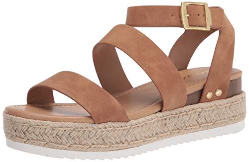 Soda Top Shoe Bryce Open Toe Buckle Ankle Strap Espadrilles Flatform Wedge Casual Sandal (7 M US, TAN NBPU)