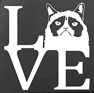 """Grumpy CAT Love Vinyl Stickers Symbol 5.5"""" Decorative DIE Cut Decal for Cars Tablets LAPTOPS Skateboard - White"""