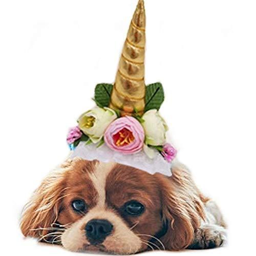 Stock Show - 1 sombrero de unicornio para mascotas de Halloween, con lazo, para gato, perro, decoración de flores, para mascotas, cumpleaños, fiestas, disfraces, Halloween, mascotas, accesorio para perros y gatos pequeños