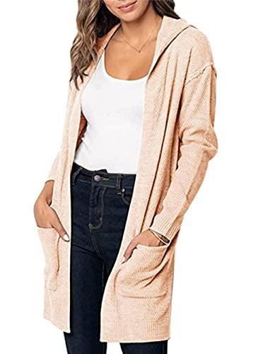 Cárdigan de punto de las mujeres otoño básico de manga larga de punto frente abierto suéter Cardigan de color sólido con capucha, Luz Naranja, M