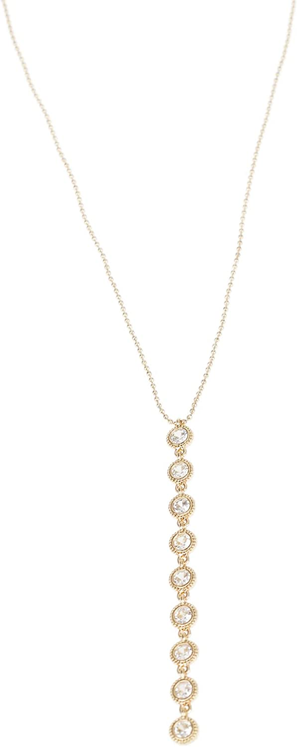 CZ by Kenneth Jay Lane 1.2 CTTW Round Bezel Cubic Zirconia Linear Drop Y Necklace