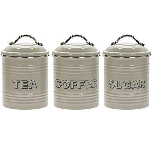 Té Azúcar Café Botes Tarros de Almacenamiento de cocina Set shabby chic de estilo vintage y retro
