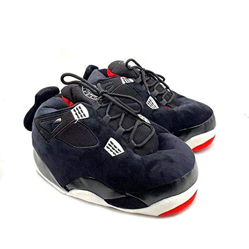 KoziKickz Jordan Style Sneaker Slippers   Plush Ultra Comfy   Non-Slip Sole   Unisex - One Size Fits Most   AJ4 Bred (Black Red)