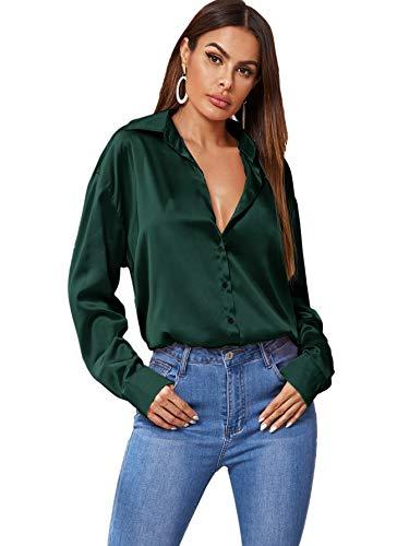 SOLY HUX Women's Satin Silk Long Sleeve Button Down Shirt Formal Work Blouse Top Deep Green M