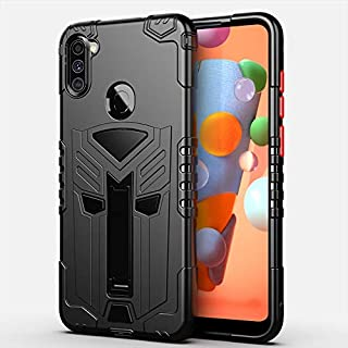 Samsung Galaxy A11 2020 RMCASE Silicone Armor Case with Kickstand Back Case Cover (Black)