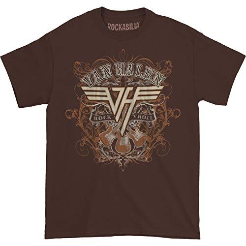 Van Halen Men's Rock N' Roll T-Shirt in Dark Chocolate Colour, Small or Medium