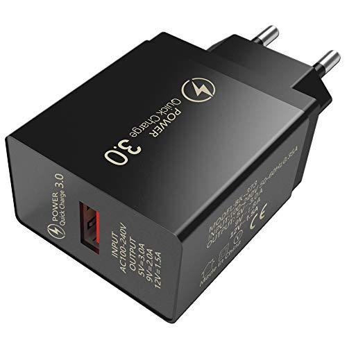 3A 3.0 Quick Charge, Adaptador de Corriente USB-C Compacto y Duradero, Rapid Charge 3.0 Adaptador de Cargador de Pared USB de Carga rápida Adaptable Compatible con Samsung, Tablet-White, iPad y más