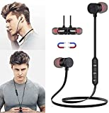 sfdeggtb Magnetic Neck-Mounted Bluetooth Headset M9 Bluetooth 4.2, Sweatproof Sport Headset, in Ear Noise Reduction Design, Compatible with Bluetooth-Enabled Devices Hands-Free Driving Call (Black)